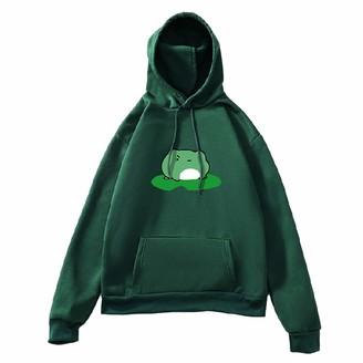 Rikay Womens Hooded Top Sweatshirt Cute Frog Printed Long Sleeve Hoodie Jacket Jumper Hooded Pullover Tops Blouse Ladies Clothes Loose Pullover Top Army Green