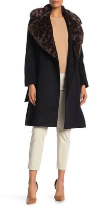 Via Spiga Wool Blend Faux Fur Leopard Collar Coat