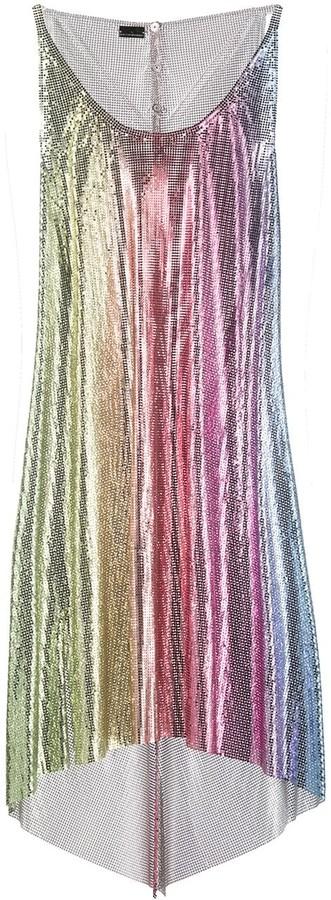 Paco Rabanne Rainbow Mesh Slip Dress