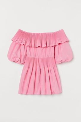 H&M Off-the-shoulder Romper - Pink