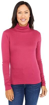 Three Dots Heritage Rib Long Sleeve Turtleneck (Anemone) Women's Sweater