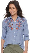Petite SONOMA Goods for LifeTM Embroidered Pinstripe Shirt