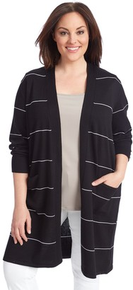 Women's 89th & Madison Striped Open Cardigan
