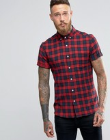 Asos Skinny Check Shirt In Red Flannel With Short Sleeves