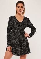 Missguided Black Polka Dot Button Front A Line Mini Dress