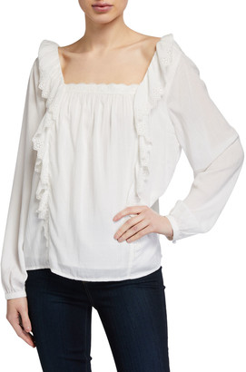 Paige Brylen Square-Neck Eyelet Ruffle Top