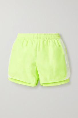 adidas by Stella McCartney M20 Neon Layered Shell And Mesh Shorts - Yellow