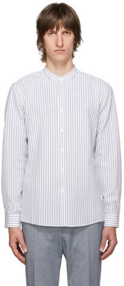 HUGO BOSS White and Blue Seersucker Jorris Shirt