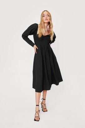 Nasty Gal Womens Ruched Bust Tie Back Midi Dress - Black - 4