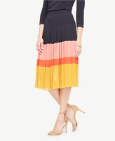 Ann Taylor Petite Pleated Block Print Skirt
