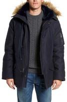 Schott NYC Men's Bedford Corduroy Goose Down Jacket With Faux Fur Trim