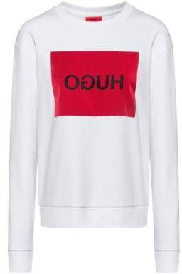 HUGO Relaxed-fit sweatshirt with reverse-logo patch