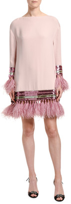 Valentino Feather & Sequin Trim Silk Shift Dress