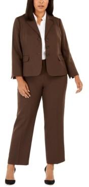 Le Suit Plus Size Melange Twill Pants Suit