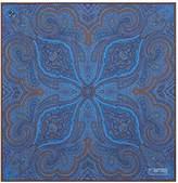 Corneliani Paisley Cotton Pocket Square, Blue, One Size