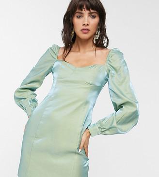 Glamorous mini dress with structured bust in metallic taffeta