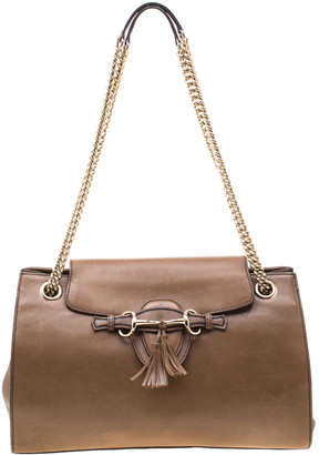 Gucci Tan Leather Large Emily Chain Shoulder Bag