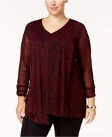 Alfani Plus Size Draped Mesh Tunic, Created for Macy's
