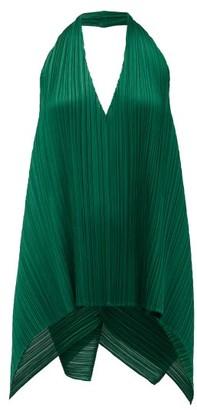 Pleats Please Issey Miyake Halterneck Technical-pleated Top - Dark Green