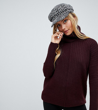 Miss Selfridge roll neck sweater in burgundy