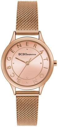 BCBGeneration Women's Rosetone Mesh Bracelet Watch