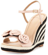 Kate Spade Jill Rosette Leather Wedge Sandal, Pale Pink