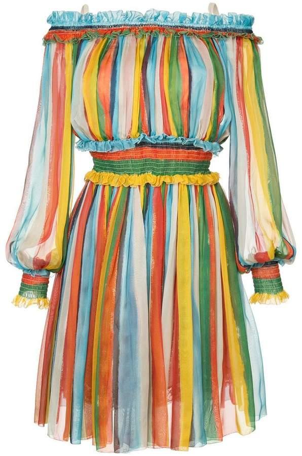 Dolce & Gabbana striped off-the-shoulder dress
