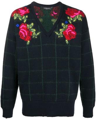 Versace Roses V-Neck Jumper