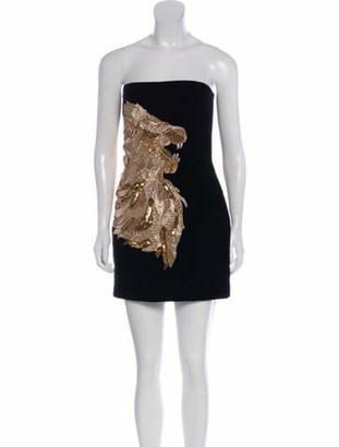 Balmain Embellished Velvet Dress Black