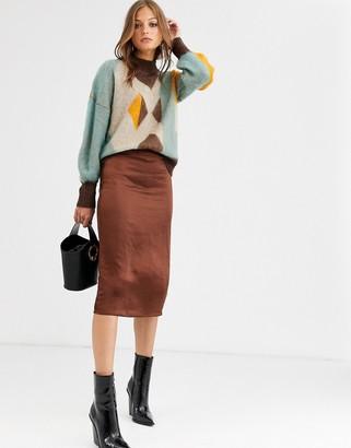 Vila Satin Midi Skirt