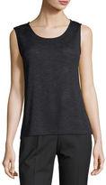 Caroline Rose Solid Knit Gauze Tank, Plus Size
