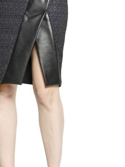Bonded Leather & Jacquard Skirt