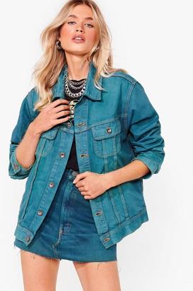 Nasty Gal Womens Vintage Dye-ing to See Ya Denim Jacket - Emerald