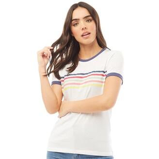 Fluid Womens Ringer T-Shirt With Chest Print White/Navy