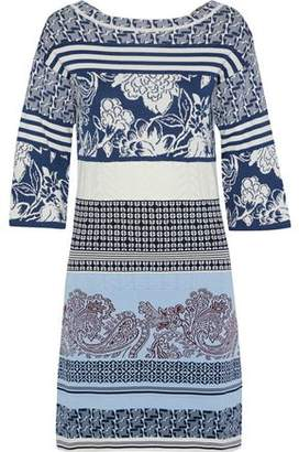 Etro Pointelle-trimmed Cotton-jacquard Mini Dress