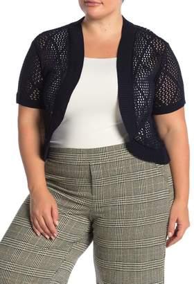 Nina Leonard Short Sleeve Diamond Knit Cardigan (Plus Size)