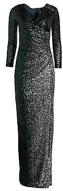 Teri Jon by Rickie Freeman Women's Long Sleeve Side Slit Sequin Dress