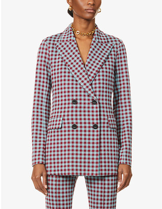 Rosetta Getty Gingham double-breasted stretch-jersey blazer