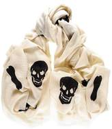 Black Skull and Crossbones Cashmere Ring Shawl