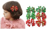 BYP Cute Kids Girls Christmas Hair Accessories Children Hair Bow Clips Christmas Girls Hair Bows Clips 6pcs