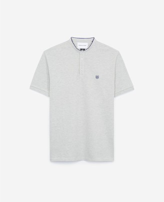 The Kooples Embroidered grey polo shirt with stand-up collar