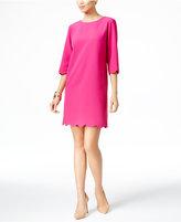 NY Collection Petite Scalloped-Hem Shift Dress