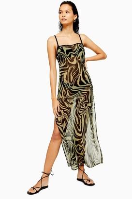 Topshop Khaki Chiffon Swirl Maxi Beach Dress
