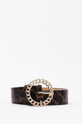 Nasty Gal Womens Embrace Chain-ge Faux Leather Leopard Belt - Natural