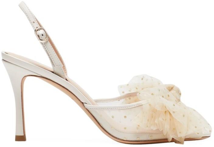 Kate Spade Bridal Sparkle Tulle & Leather Slingback Sandals