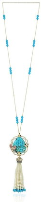 Artisan 18Kt Gold Diamond Carving Onyx Pearl Sapphire Turquoise Rope/Lariat Necklace Tassel Jewelry With Jewelry Box Black Friday Sale