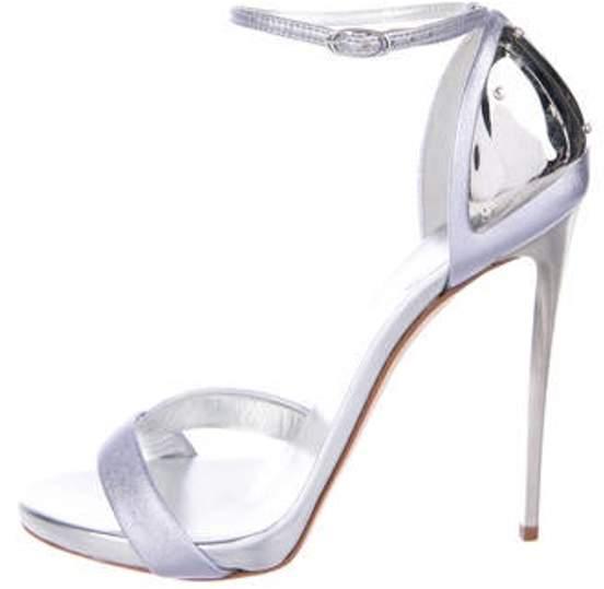 Giuseppe Zanotti Leather Ankle-Strap Sandals Silver Leather Ankle-Strap Sandals