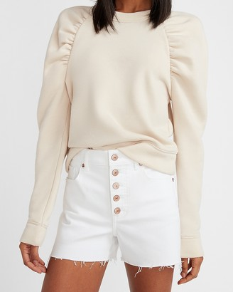 Express High Waisted White Button Fly Raw Hem Jean Shorts