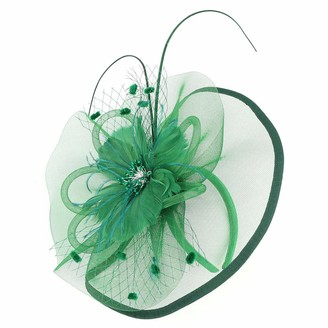 Foroner Hats & Caps Foroner Women Girl Fascinators Hair Headwear Clip Hairpin Hat Headdress Feather Cocktail Wedding Tea Headbands Party (Green)