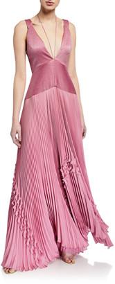 Alexis Bellona Pleated Ruffle Long Dress